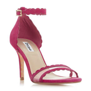 6f7111094e468b More Products from Dune London. Maam Scalloped Trim Two Part Mid Heel Sandal
