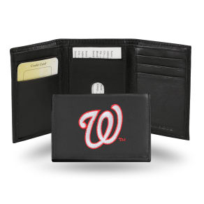 Rico Washington Nationals Men's Black Leather Tri-Fold Wallet