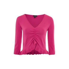 Womens Ruched Front Frill Knitted Top