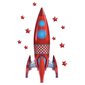 Rocket Wall Decal - Red, Multi-Colored