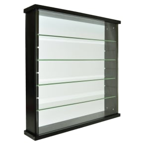 Single Door Solid Wood and Glass Display Cabinet - Black
