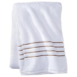 Bath Sheet White/Taupe (White/Brown) Stripe - Fieldcrest