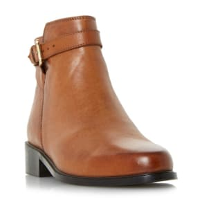 Dune - Tan 'Poppy' Buckle Detail Side Zip Ankle Boots