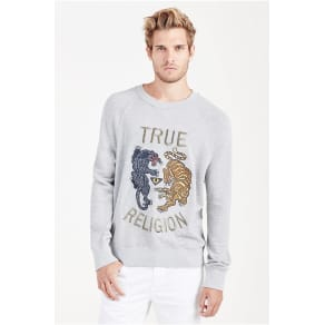 True Religion Panther Mens Pullover - Heather Grey