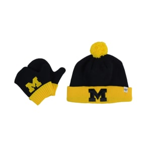 '47 Brand Toddlers' Michigan Wolverines Knit Hat and Mittens Set