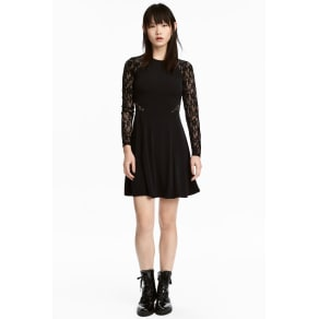 Jersey Dress With Lace