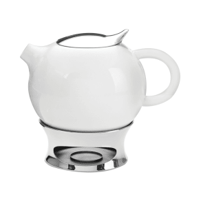 Nambe Bulbo Teapot With Infuser and Warming Base