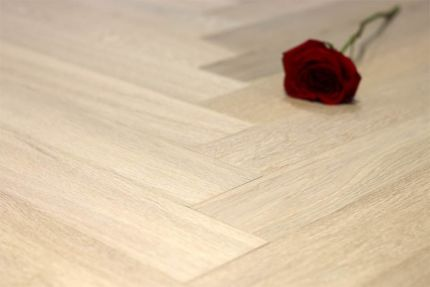 Prime Engineered Flooring Oak Herringbone Sunny White Brushed UV Oiled 14/3mm By 98mm By 590mm