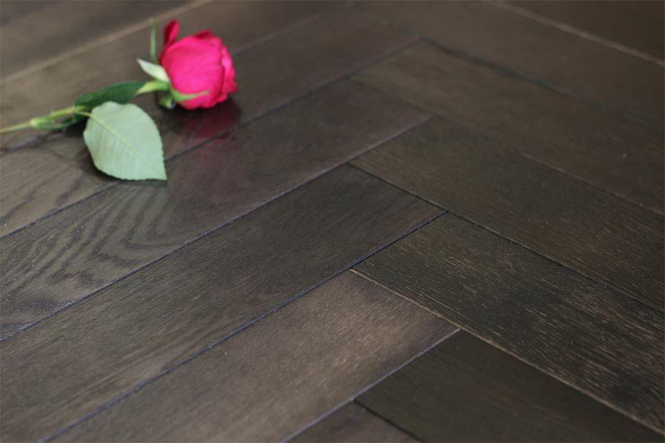 Natural Engineered Oak Herringbone Dark Affocato Uv Oiled 154mm By