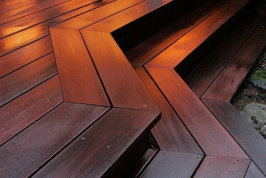 Red Balau Hardwood Decking Boards Using Hidden Fixing 21mm By 120mm By 3353-3658mm