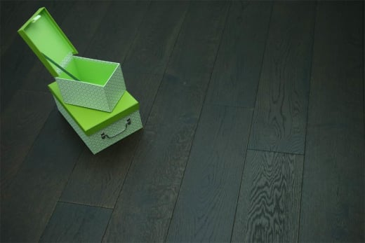 Natural Engineered Flooring Oak Black Tea Brushed UV Oiled 14/3mm By 190mm By 400-1500mm