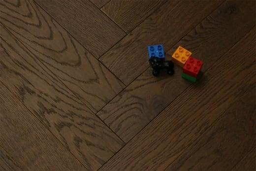 Prime Engineered Flooring Oak Herringbone Coffee Brushed UV Oiled 14/3mm By 98mm By 590mm
