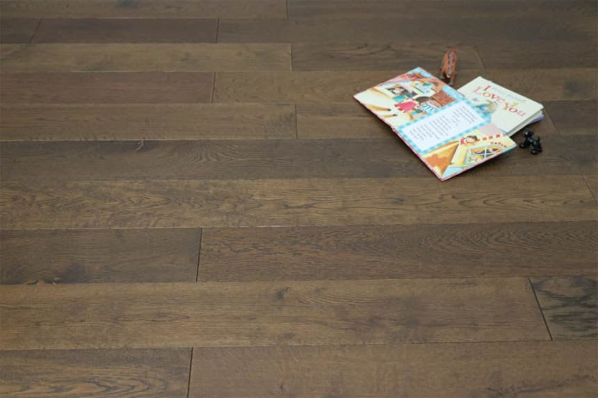 Natural Engineered Flooring Oak Coffee Brushed UV Oiled 15/4mm By 260mm By 1900mm