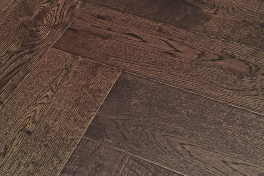 Natural Engineered Flooring Oak Herringbone Macchiato UV Lacquered No Bevel 11/3.6mm By 70mm By 490mm
