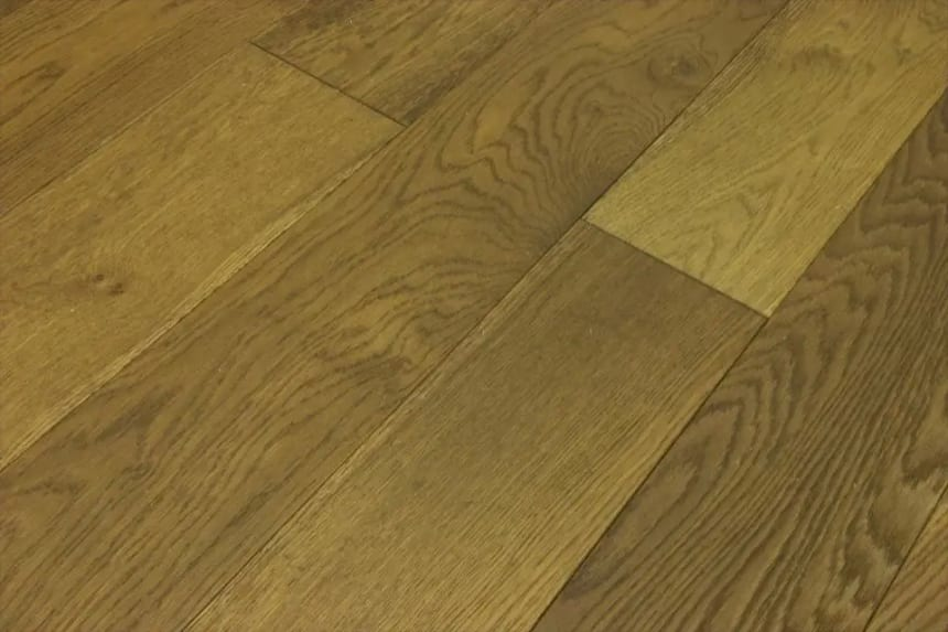 Natural Engineered Flooring Oak Smoked Stained Brushed UV Oiled 14/3mm By 90mm By 400-1500mm