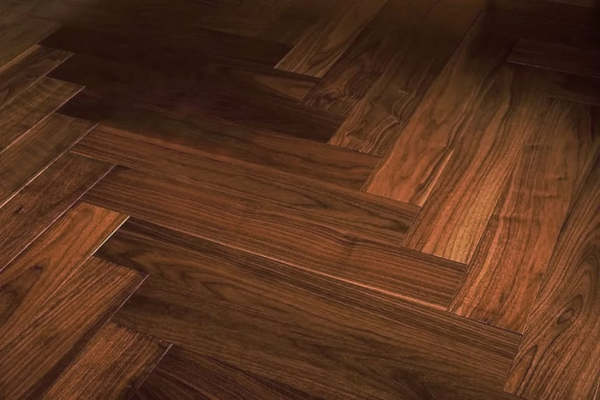 Prime Engineered Flooring African Walnut Herringbone UV Lacquered 14/3mm By 97mm By 582mm