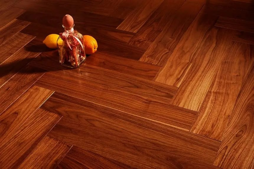 Prime Engineered Flooring American Walnut Herringbone UV Lacquered 14/3mm By 97mm By 582mm