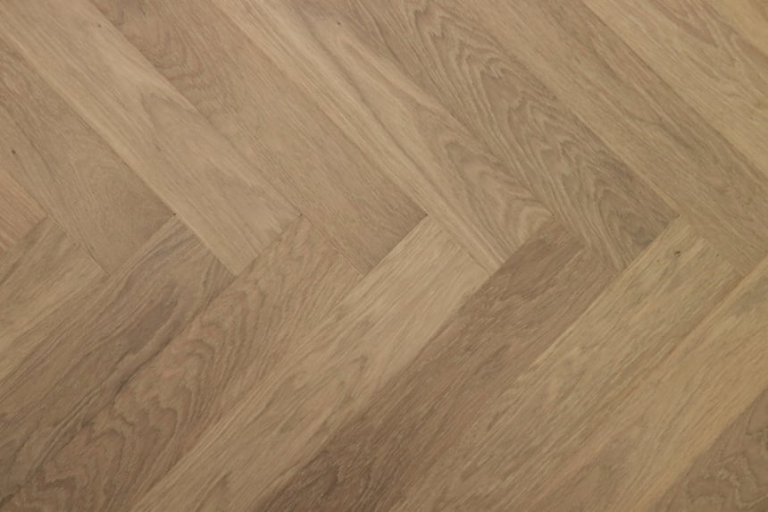 Prime Engineered Flooring Oak Herringbone Sunny White Brushed UV Oiled 14/3mm By 98mm By 588mm