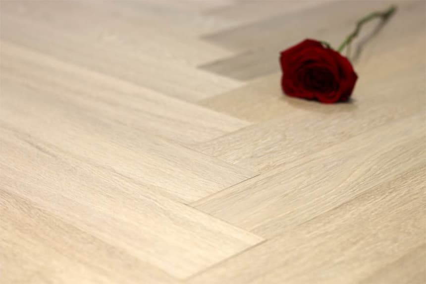 Prime Engineered Flooring Oak Herringbone Sunny White Brushed UV Oiled 14/3mm By 98mm By 590mm