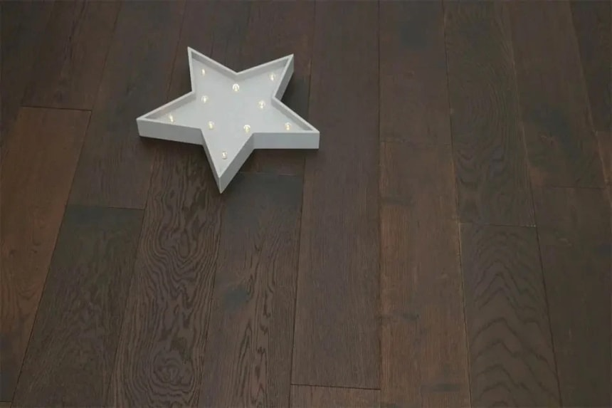 Natural Engineered Flooring Oak Black Tea Brushed UV Oiled 15/4mm By 190mm By 1900mm