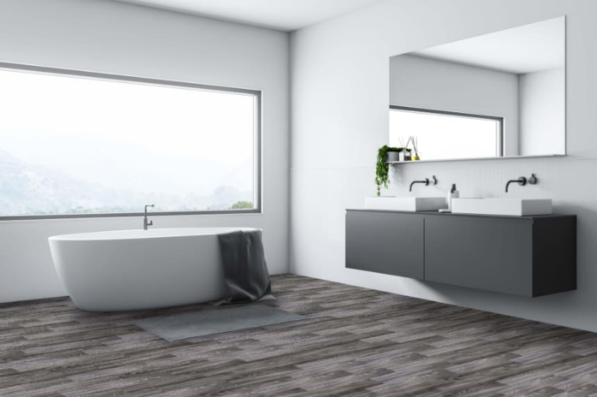 Luxury Click Vinyl Rigid Core Flooring Earth Grey 5mm By 181mm By 1220mm