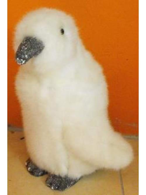 Pinguino Grande Colore Bianco Con Pelliccia