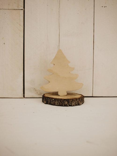 Albero di Natale in legno Beige con base - Mod. 1