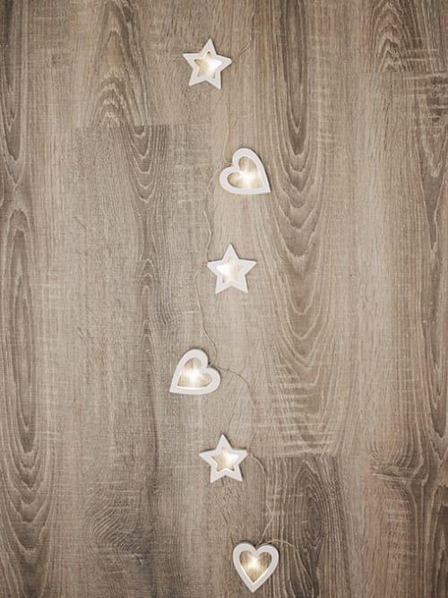 10 luci di Natale con cuori e stelle