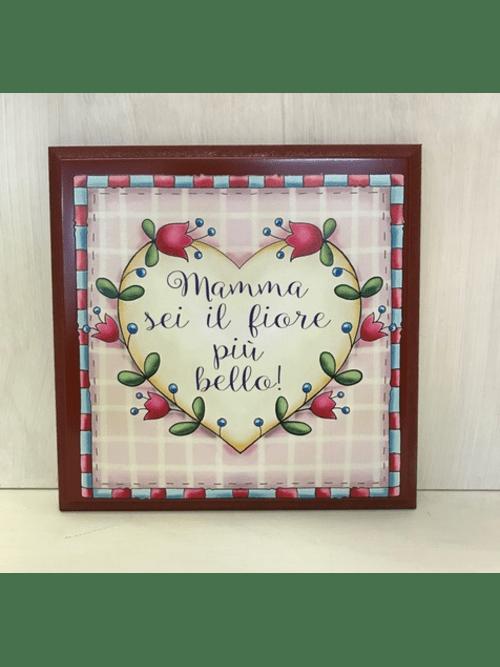 L'angolo delle idee formella Mamma sei il fiore più bello rosso