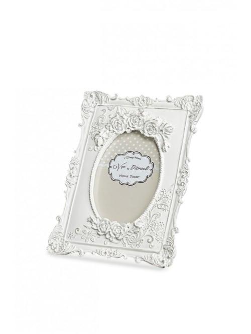 Portafoto in legno bianco con decori - Disraeli