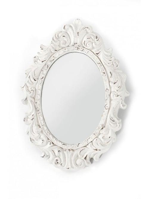Specchio in legno bianco decorato - Disraeli