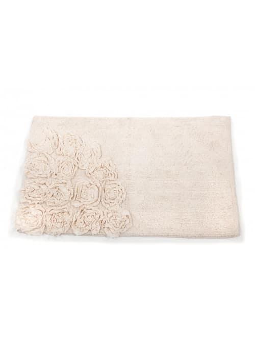 Tappeto bagno avorio con fiori nell'angolo - Disraeli