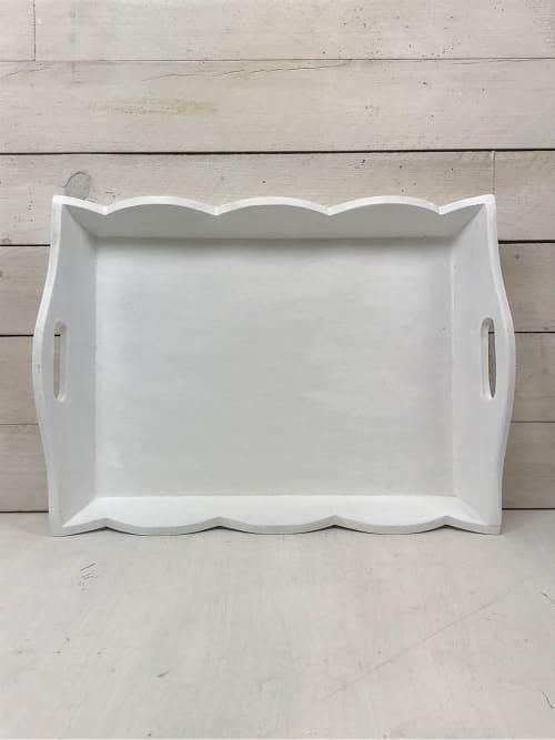 Vassoio artigianale shabby chic in legno bianco
