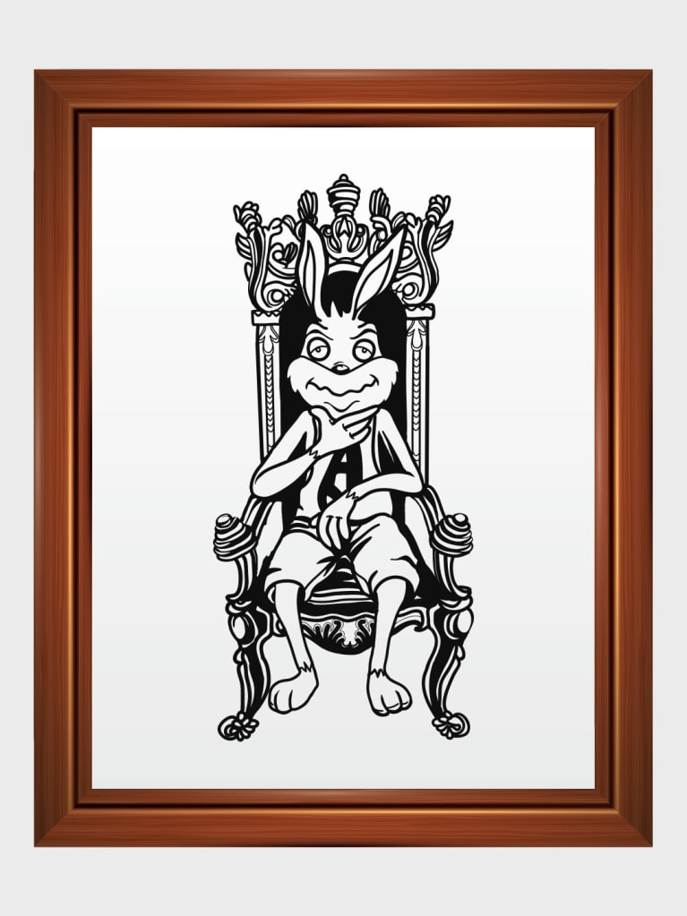 Rabbit the King Art Frame