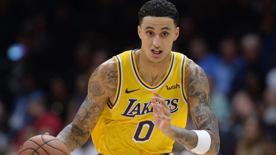timeless design 925e8 aeabb Kyle Kuzma wearing same shoes LeBron James wore during first ...