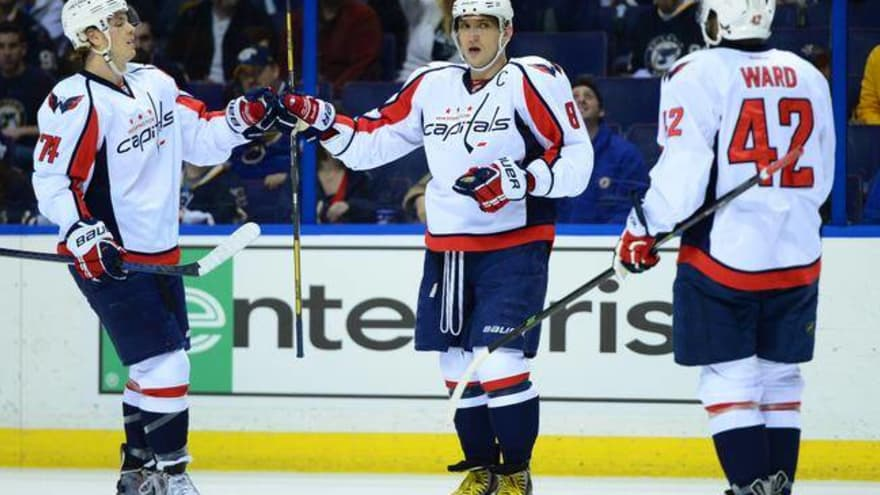 379cd4ef6 ... USA  Washington Capitals right wing Alex Ovechkin (center) celebrates  with John Carlson (left) and Joel Ward (right) after scoring a goal against  the ...