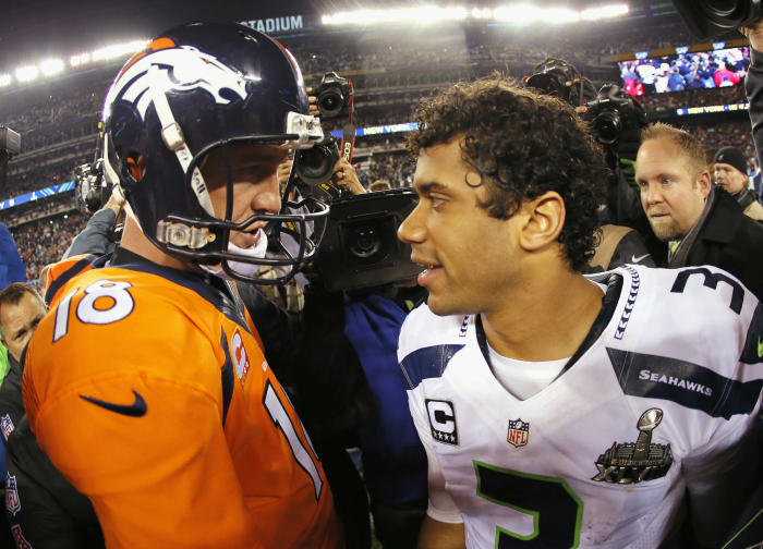 Super Bowl XLVIII: Russell Wilson, Seattle Seahawks, and Peyton Manning, Denver Broncos