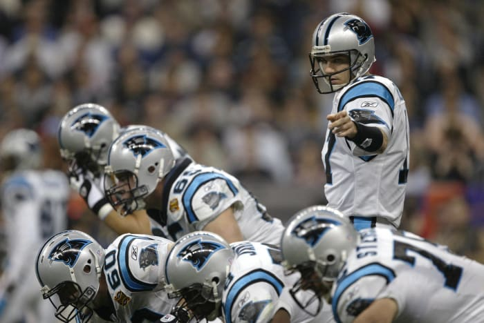 Super Bowl XXXVIII: Tom Brady, New England Patriots, and Jake Delhomme, Carolina Panthers