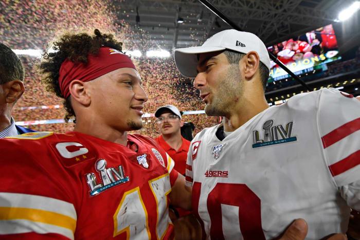 Super Bowl LIV: Patrick Mahomes, Kansas City Chiefs, and Jimmy Garoppolo, San Francisco 49ers