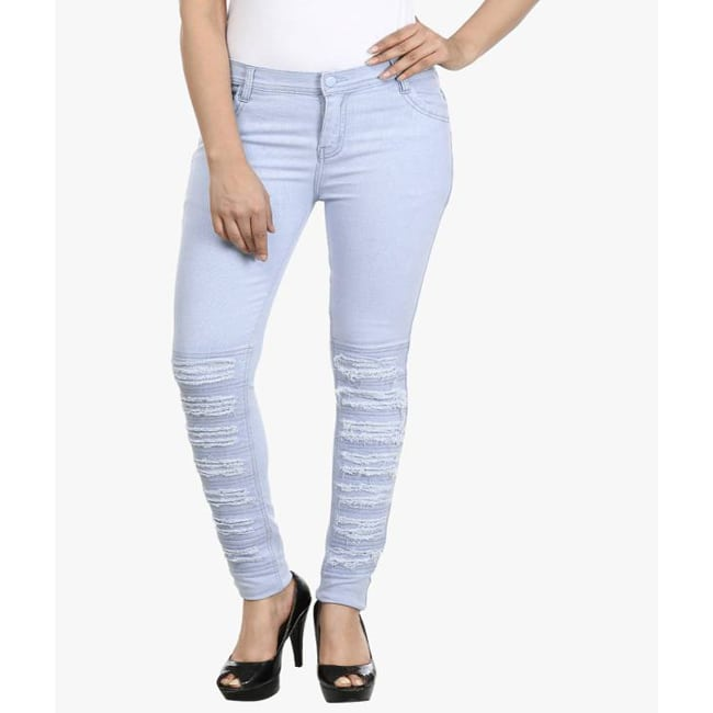 Faishion  Blue Star Slim Women's Light Blue Jeans