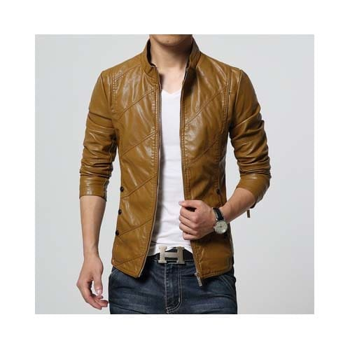 Buy Tan Leather Jacket online at zhakaash.com
