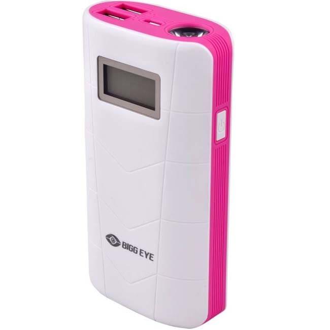 Bigg Eye PB-02 Digital Display High Quality 10000 mAh Power Bank  (White Pink, Lithium-ion)