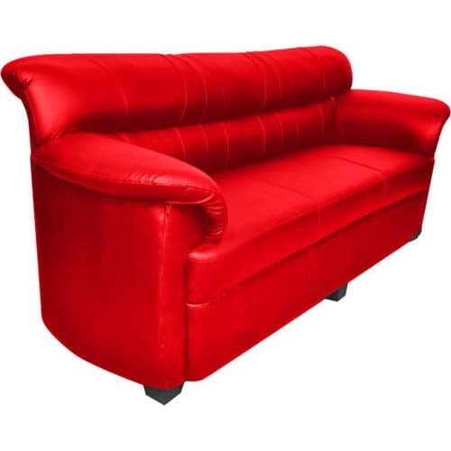 HOMESTOCK Leatherette 3 + 1 + 1 Red Sofa Set  (Configuration - Straight)