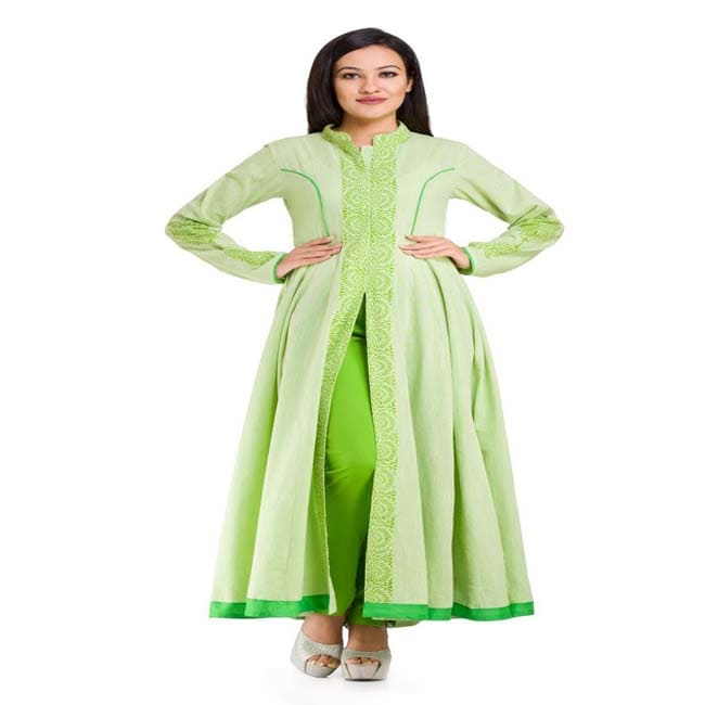 Light Green Cotton slub Anarkali with Green Pencil Pants (Light Green)
