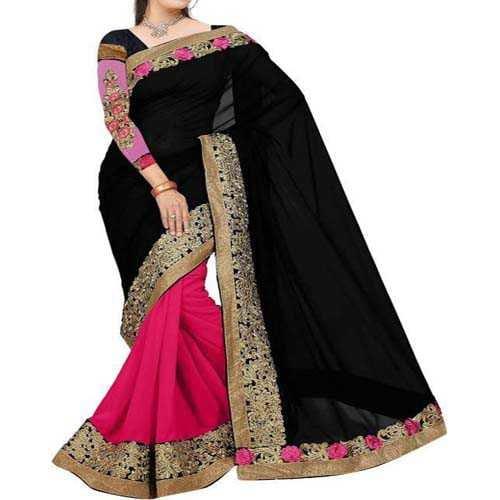 Aashvi Creation Embroidered Fashion Georgette Saree  (Black, Pink)